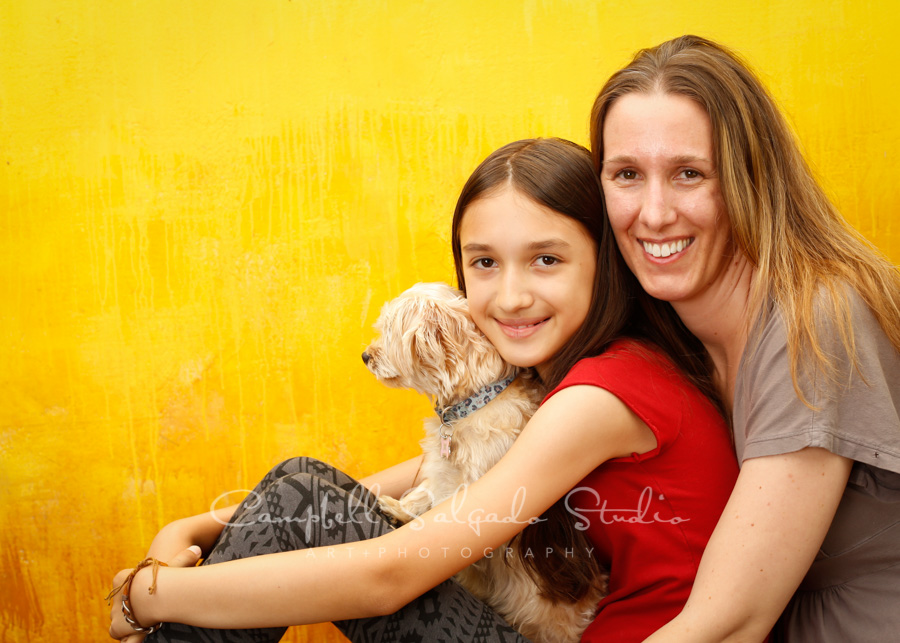 Portrait of mother and daughter on liquid sunshine background by family photographers at Campbell Salgado Studio in Portland, Oregon.