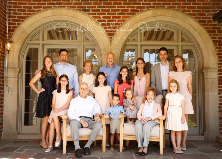 Portrait of multi-generational family at vignettes session by family photographers at Campbell Salgado Studio in Portland, Oregon.