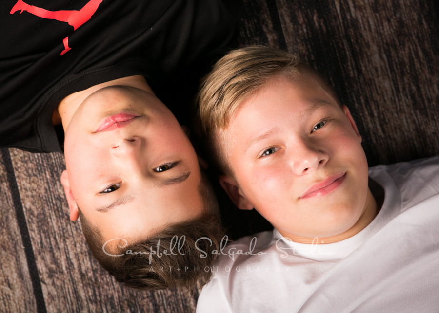 Portrait of boys on white background by child photographers at Campbell Salgado Studio in Portland, Oregon.
