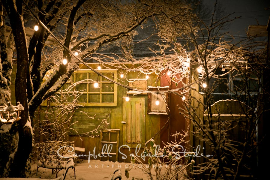 Nighttime at Campbell Salgado Studio outdoor studio in the snow, Portland, Oregon 2017