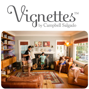 Vignettes™ logo and on location family portrait by Campbell Salgado Studio in Portland, Oregon