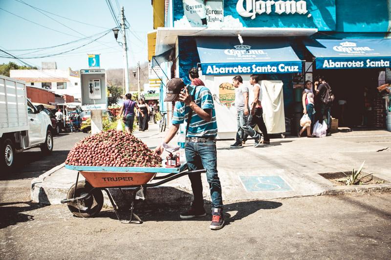 A wheelbarrow full of strawberries in Crucecita, Mexico