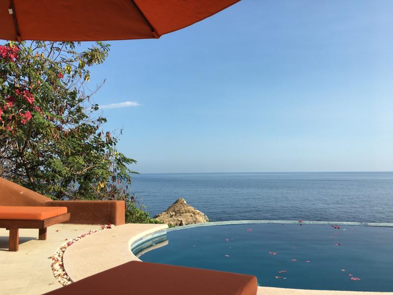 Infinity pool at our rental in Puerto Ángel.