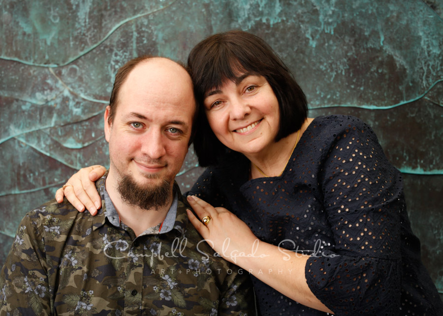 Portrait of mother and son on ocean weave background by family photographers at Campbell Salgado Studio in Portland, Oregon.