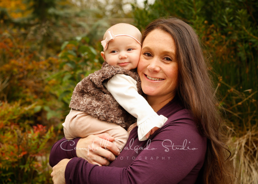 Portrait of mother and baby at Vignettes session by family photographers at Campbell Salgado Studio in Portland, Oregon.