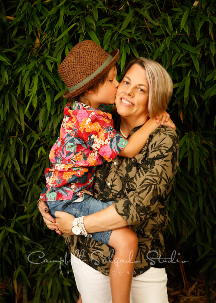 Portrait of mother and son on bamboo background by family photographers at Campbell Salgado Studio in Portland, Oregon.