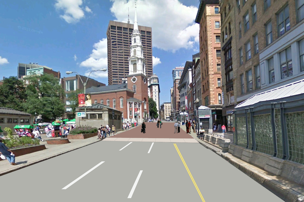 Perspective Rendering of Tremont St. & Park St. Intersection redesigned as a pedestrian friendly crossing.
