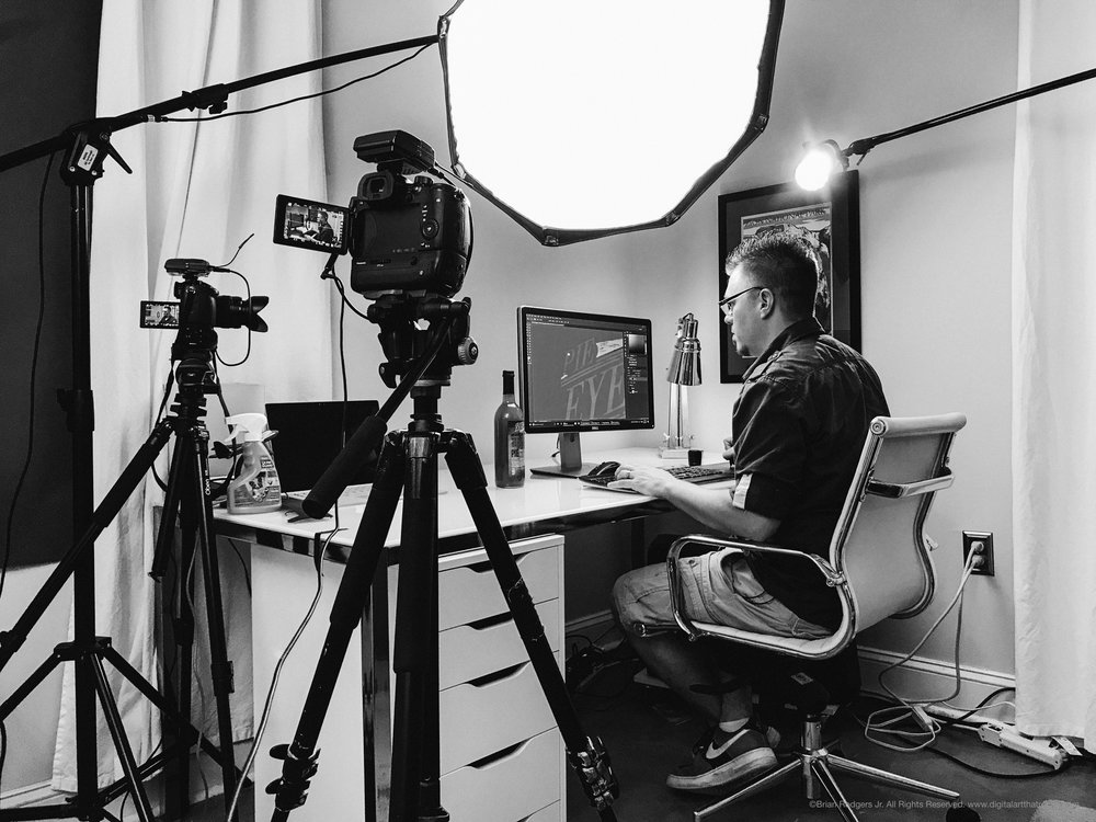 Behind the Scenese with Brian Rodgers Jr. on set at Fstoppers headquarters recording a video tutorial on Photoshop Retouching & Compositing