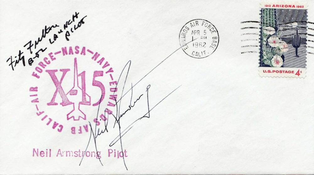 Neil Armstrong signed X-15 postal cover - early 1960s