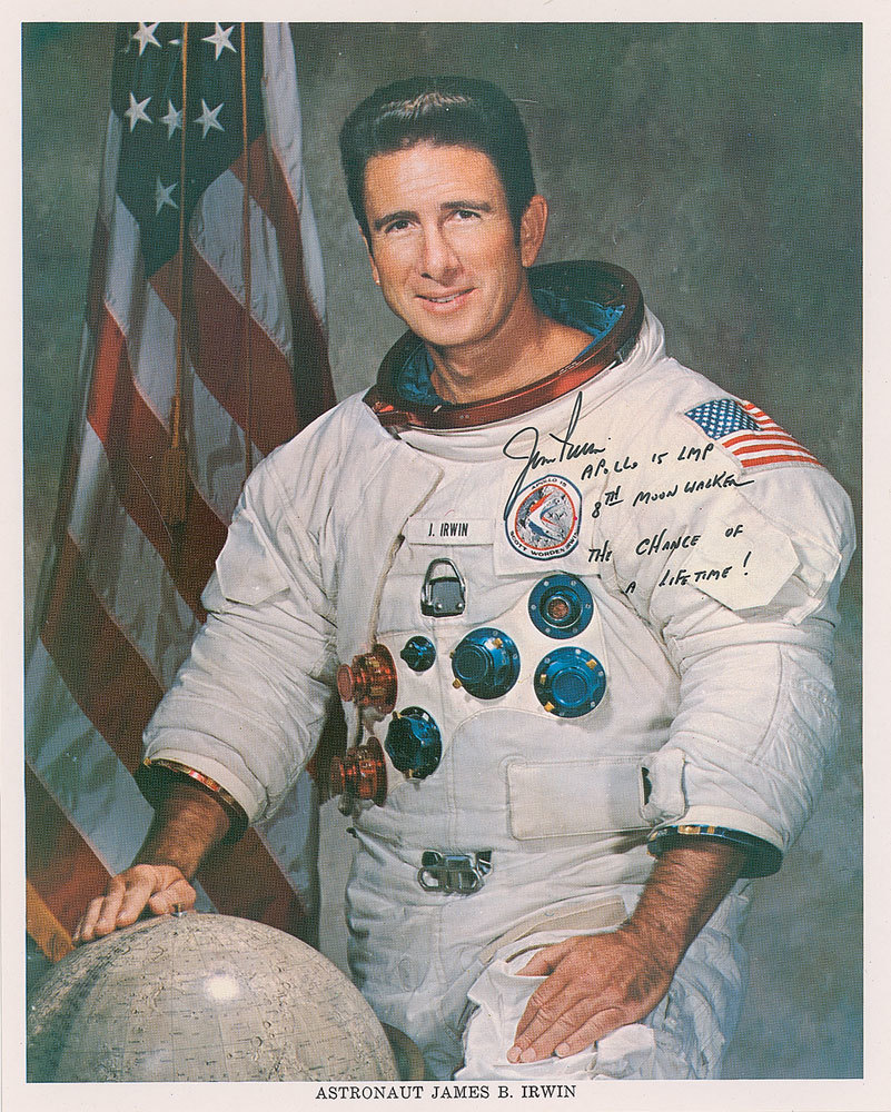 Super rare and desirable Jim Irwin unpersonalized white space suit portrait