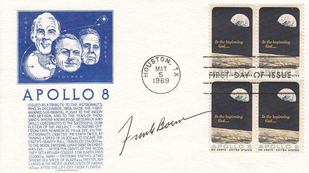 Apollo 8 First Day Cover autographed by Frank Borman.