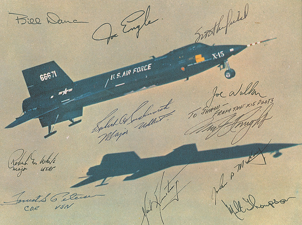 X-15 photo signed by eleven of the X-15 twelve pilots. Offered by RR Auction from the Robert Shaw collection.