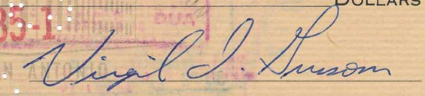 Virgil Grissom signed check, 1962