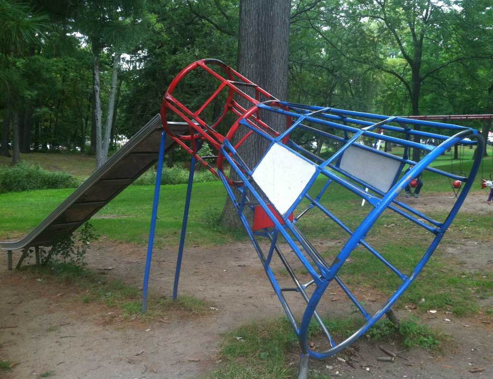 Space capsule monkey bars with slide in Schenectady, NY's Central Park.
