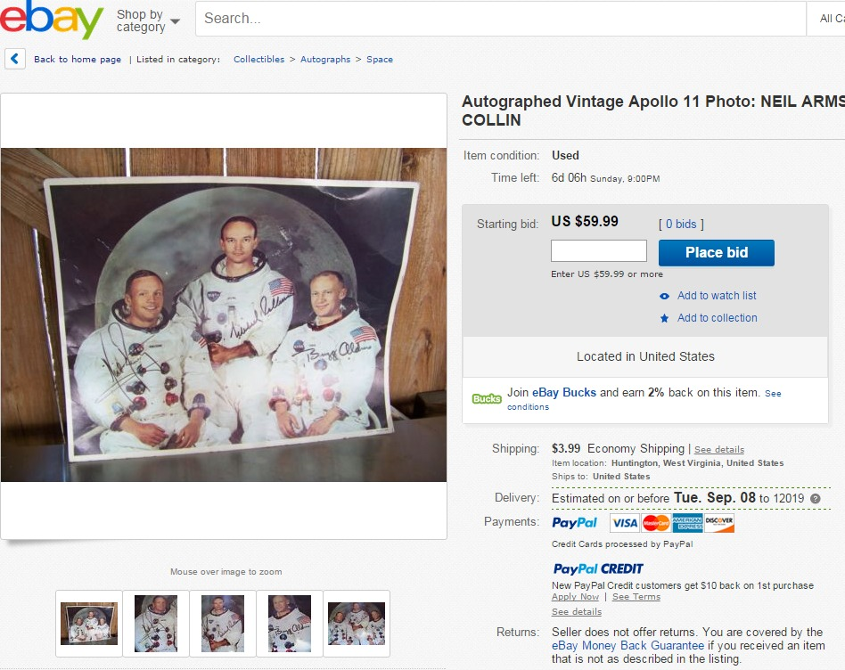 Another Apollo 11 reproduction signed photo being advertised as authentic on eBay