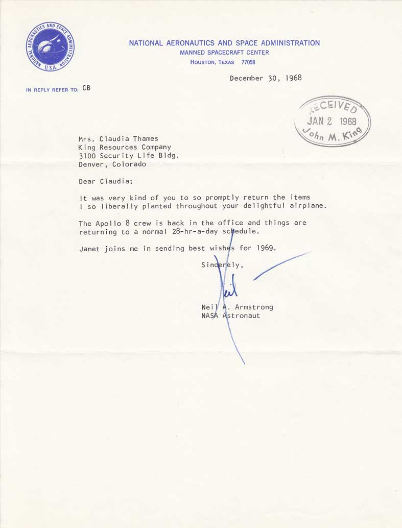 Neil Armstrong signed letter, December 30, 1968