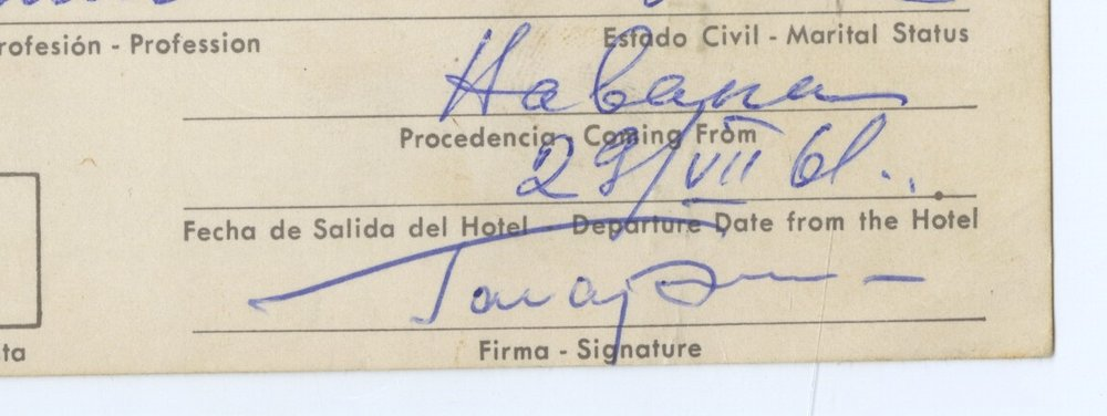 Gagarin signed hotel REGISTRY card (signature only)
