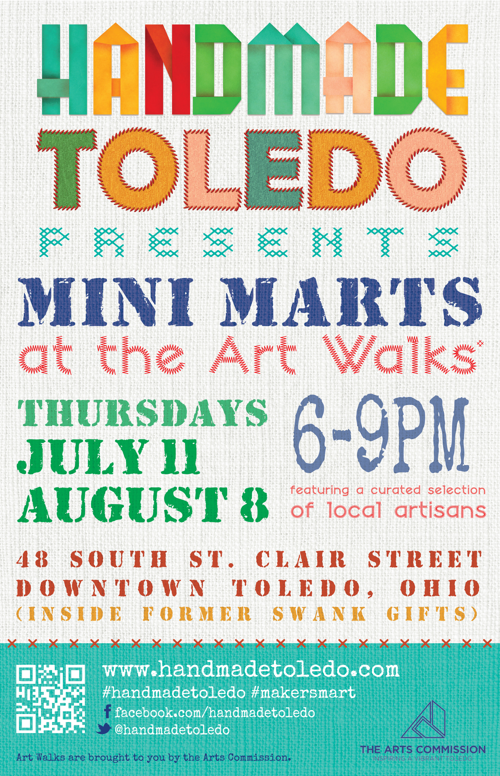 Poster for Handmade Toledo Mini Marts at the Art Walks in downtown Toledo this summer