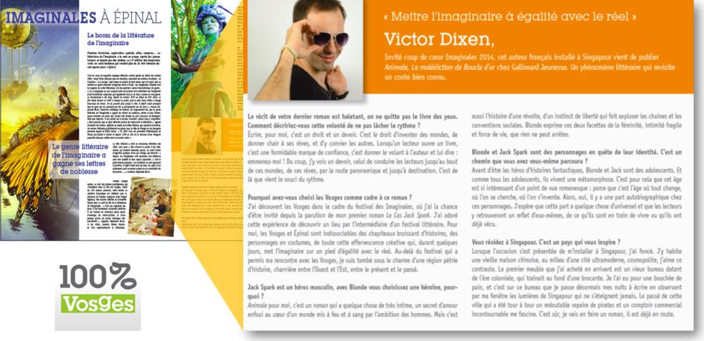 Interview Victor Dixen dans 100 pour 100 Vosges