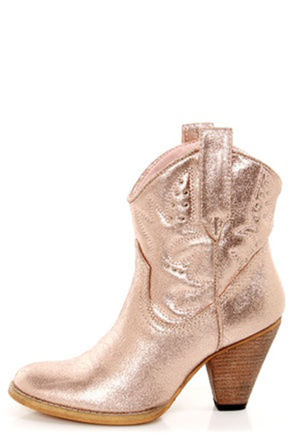 Rose Gold Metallic Cowboy Boots