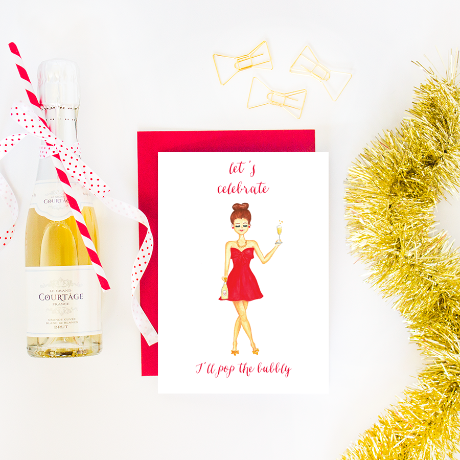 Let's Celebrate I'll Pop The Bubbly Greeting Card by Simply Jessica Marie