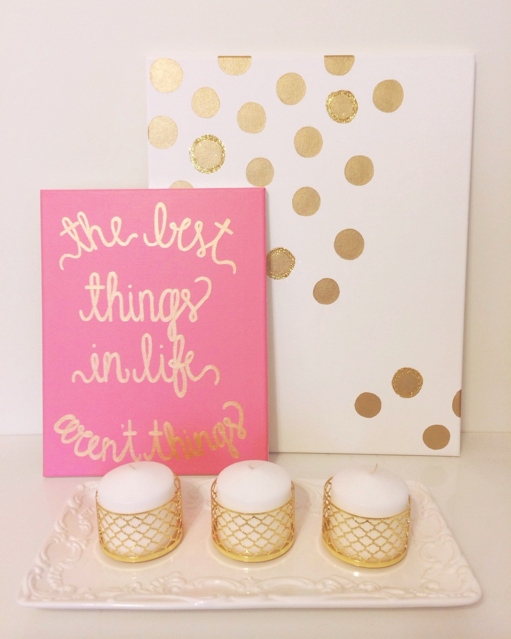 Custom Pink and Gold Painting | The Best Things In Life Aren't Things | Simply Jessica Marie