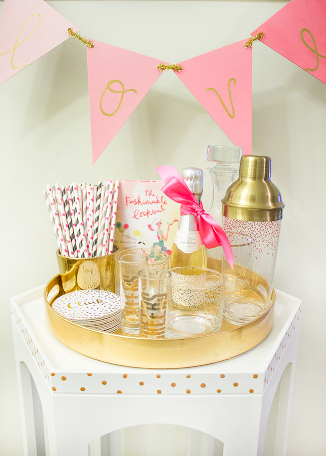 DIY Gold Polka Dot Mini Bar Cart by Simply Jessica Marie with Modern Masters