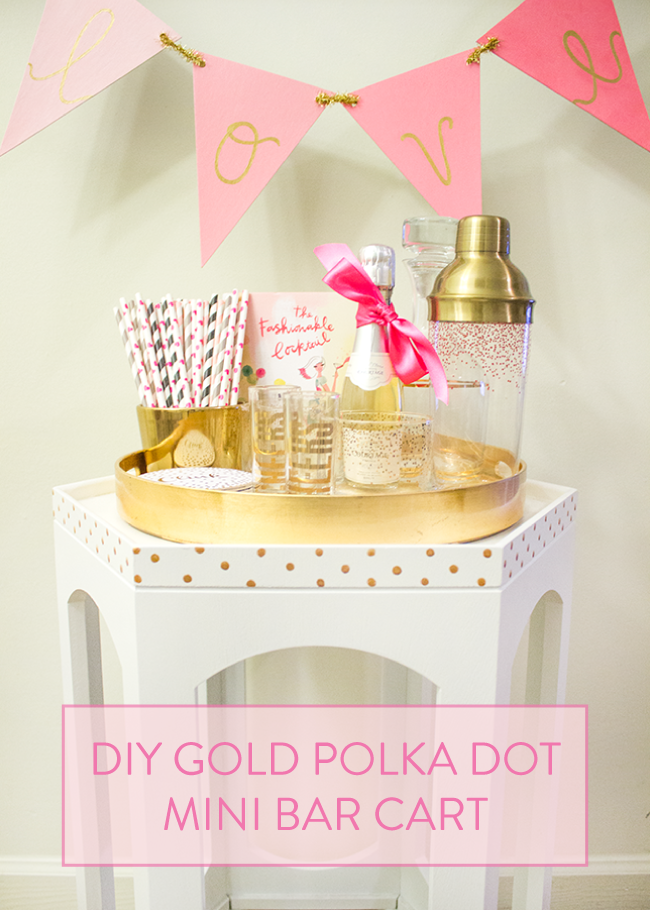 DIY Gold Polka Dot Mini Bar Cart by Simply Jessica Marie with Modern Masters, Inc.