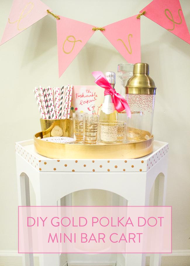 diy gold polka dot mini bar cart with modern masters inc simply jessica marie. Black Bedroom Furniture Sets. Home Design Ideas