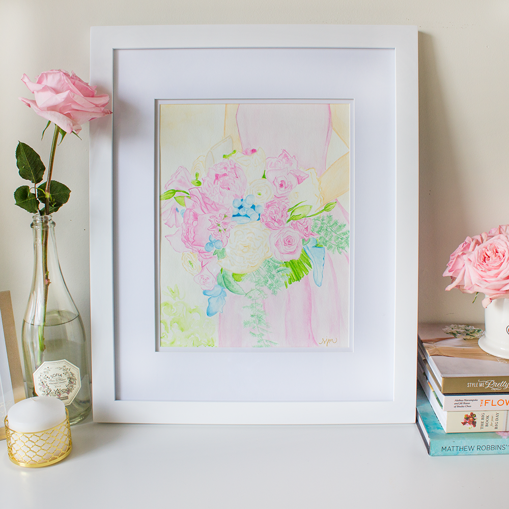Custom Wedding Bouquet Watercolor Painting by Simply Jessica Marie