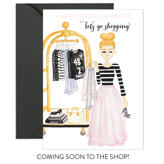 Happy Birthday Bestie Let's Go Shopping Birthday Card by Simply Jessica Marie
