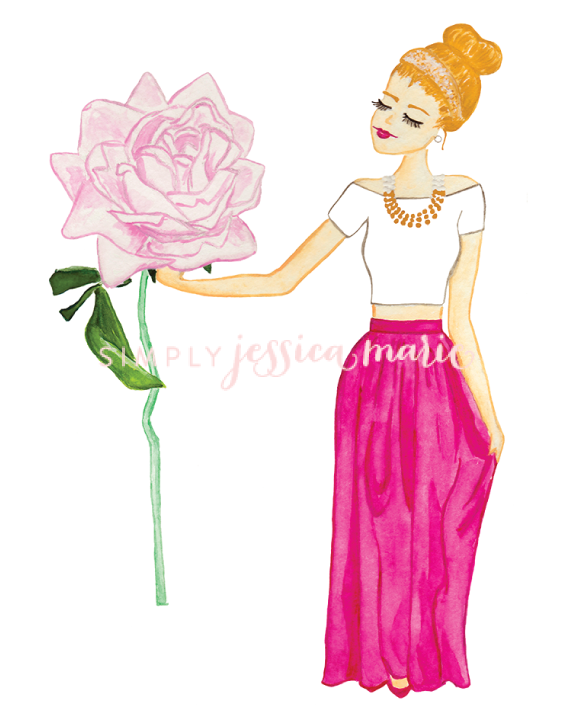 Stop and Smell the Roses Fashion Illustration Art Print by Simply Jessica Marie