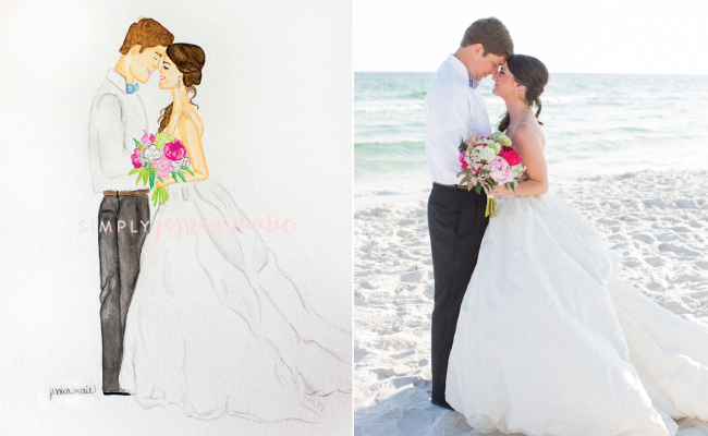 Custom Wedding Illustration by Simply Jessica Marie