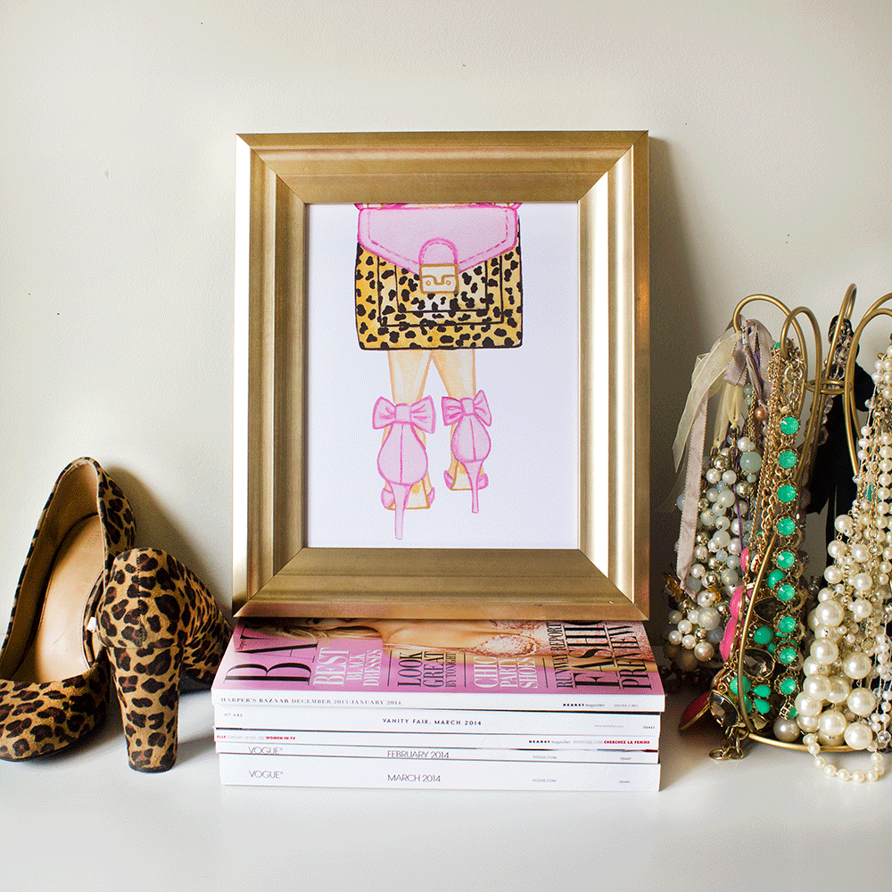 Pink Leopard Accessories Fashion Illustration Art Print by Simply Jessica Marie