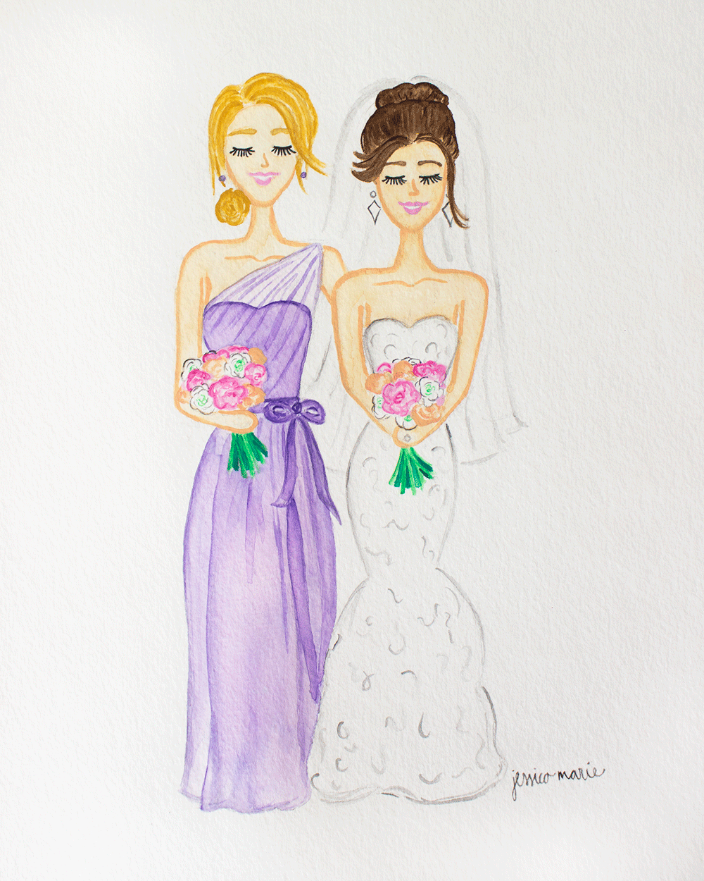 Custom Bride and Bridesmaid Watercolor Painting by Simply Jessica Marie