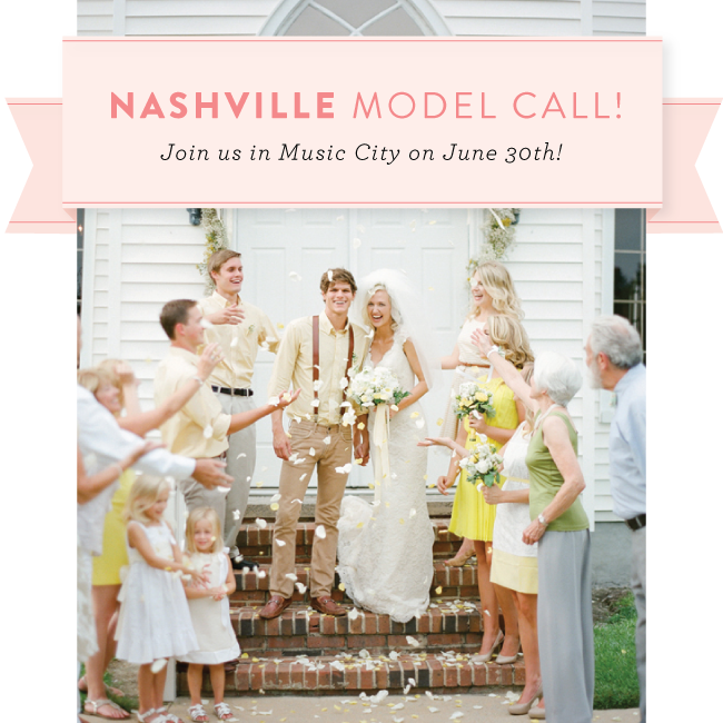 Southern Weddings V7 Model Call in Nashville