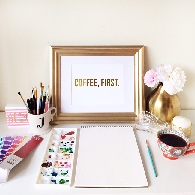 Coffee, First Gold Foil Art Print by All Things Pretty | Simply Wonderful Small Businesses | Simply Jessica Marie