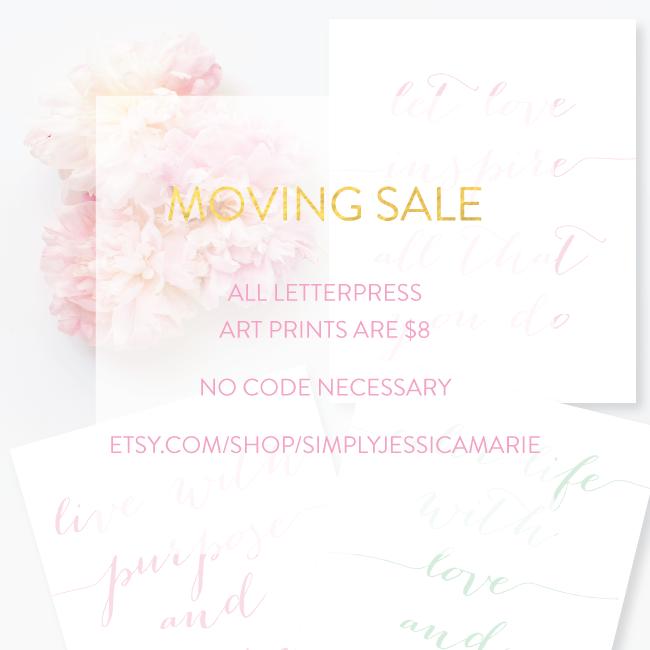 Letterpress Art Print Sale | Simply Jessica Marie