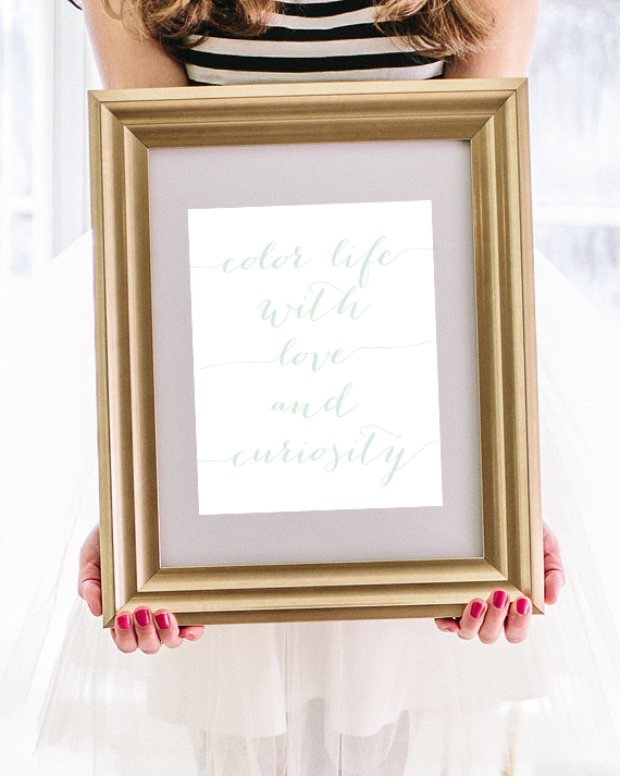 Letterpress Art Print Sale | Color Life With Love And Curiosity | Simply Jessica Marie