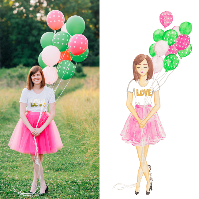 Carrie Grace Custom Watercolor Illustration by Simply Jessica Marie