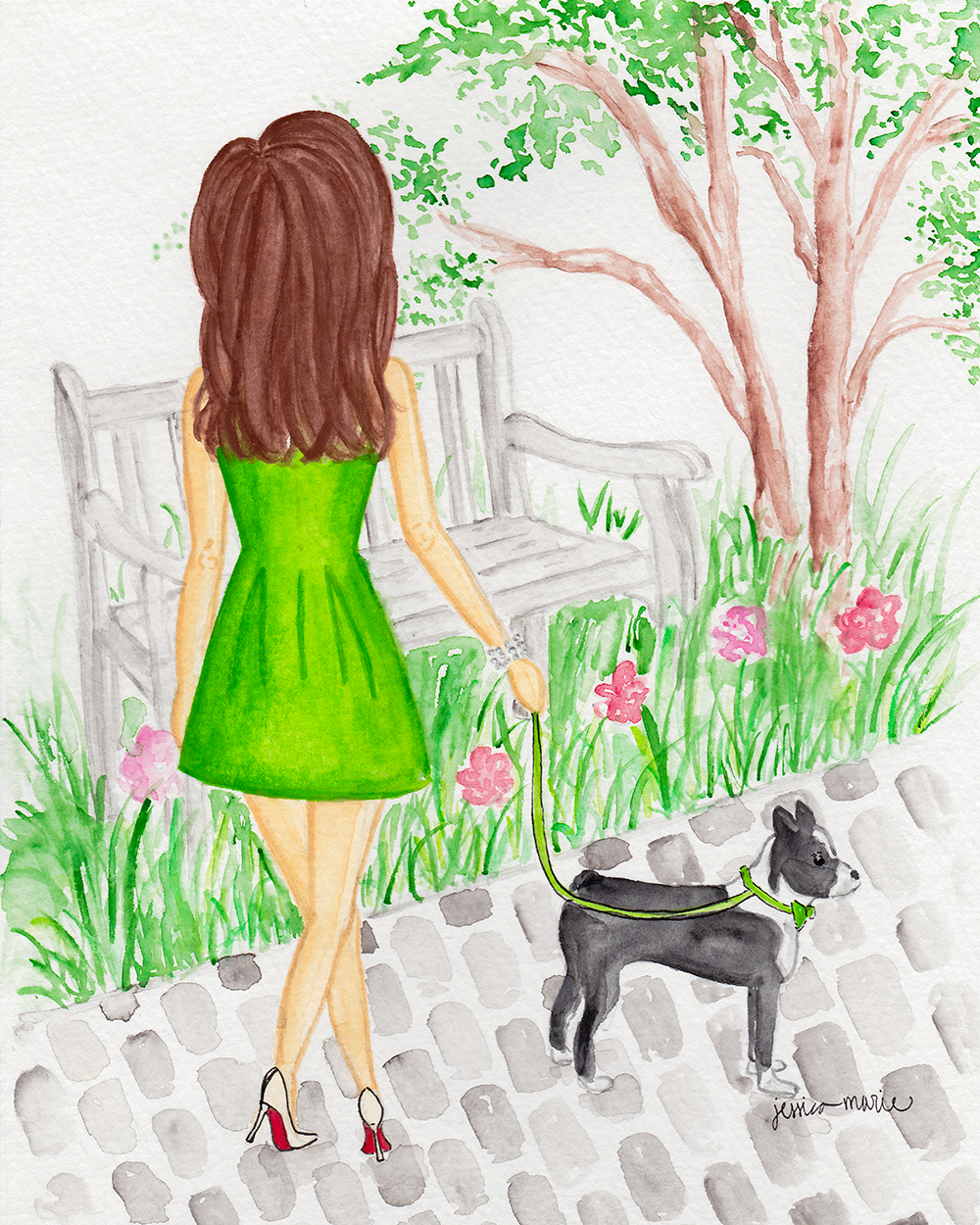 A Walk in the Park Custom Watercolor Painting