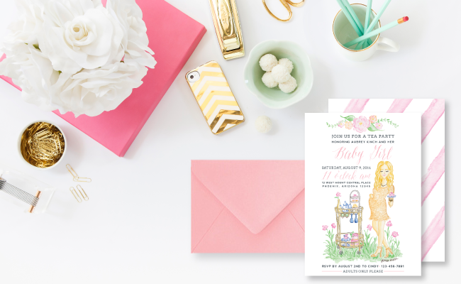 Custom Pink Garden Tea Party Baby Shower Invitations by Simply Jessica Marie