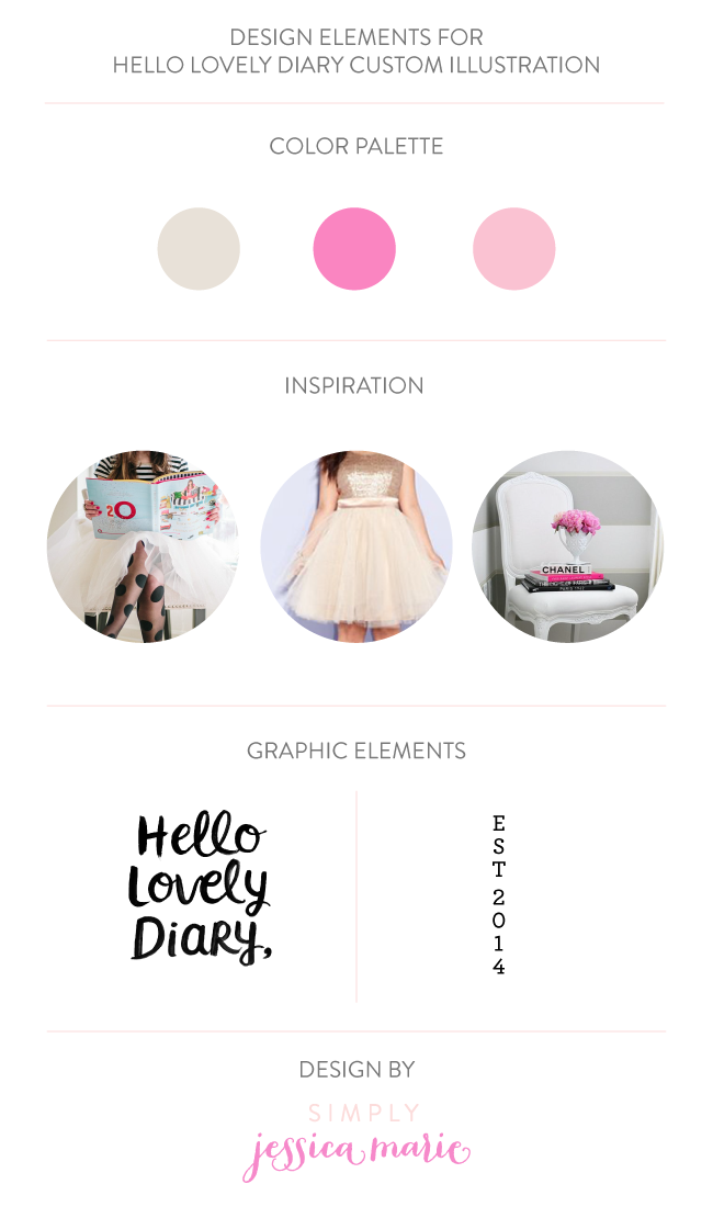 Design Elements for Hello Lovely Diary Custom Illustration by Simply Jessica Marie