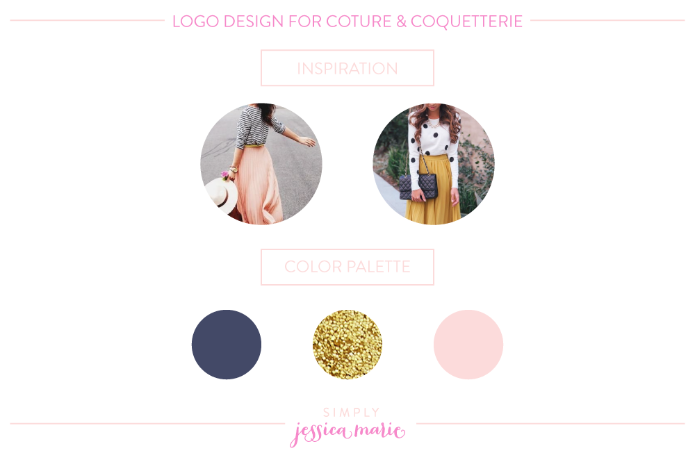 Logo Design Board for Couture & Coquetterie by Simply Jessica Marie