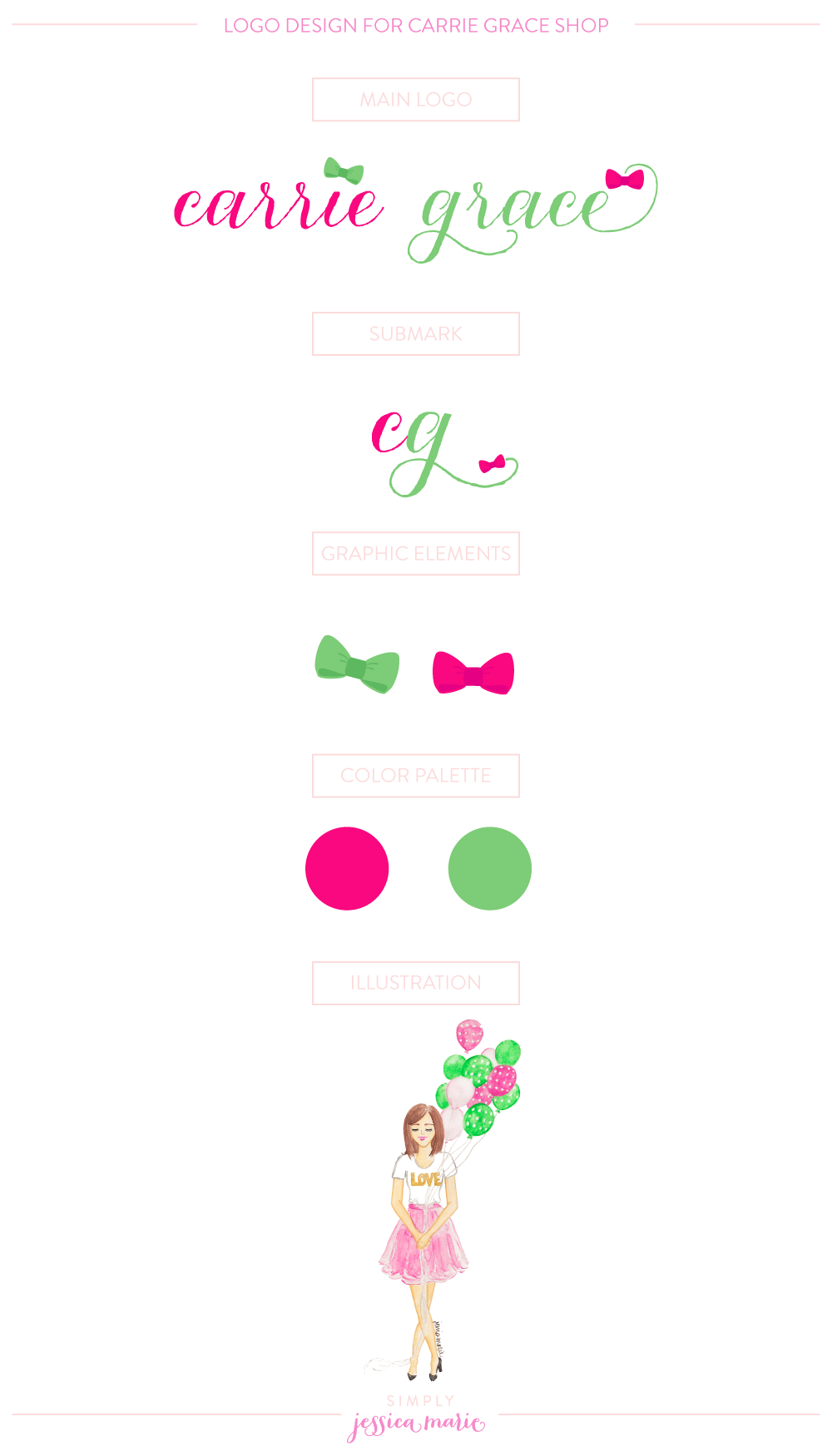 Custom Preppy Logo Design for Carrie Grace Shop by Simply Jessica Marie