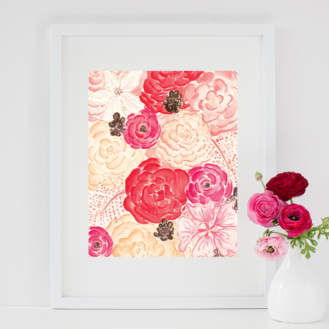 Custom Watercolor Floral Painting by Simply Jessica Marie
