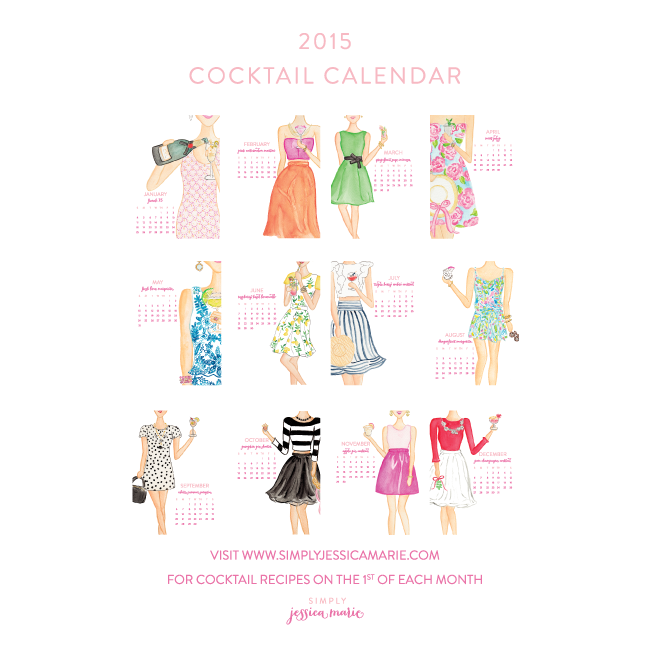 2015 Cocktail Calendar by Simply Jessica Marie