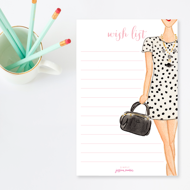 Wish List Notepad by Simply Jessica Marie