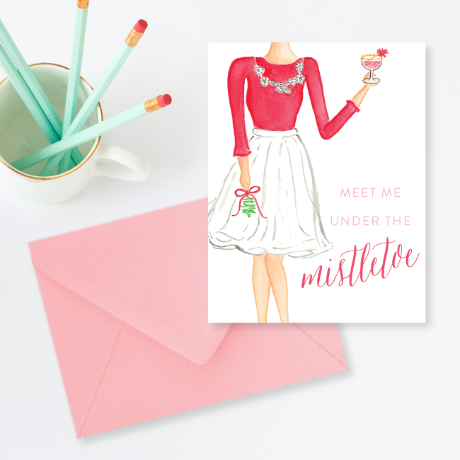 Meet Me Under the Mistletoe Christmas Card by Simply Jessica Marie