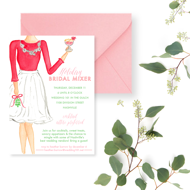 Wedding 101 Holiday Bridal Mixer | Invitation Design by Simply Jessica Marie